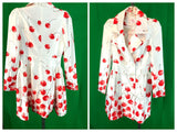Blingor Fashion Double Breasted Cherry Print Dress Coat White Red w/Tags Small