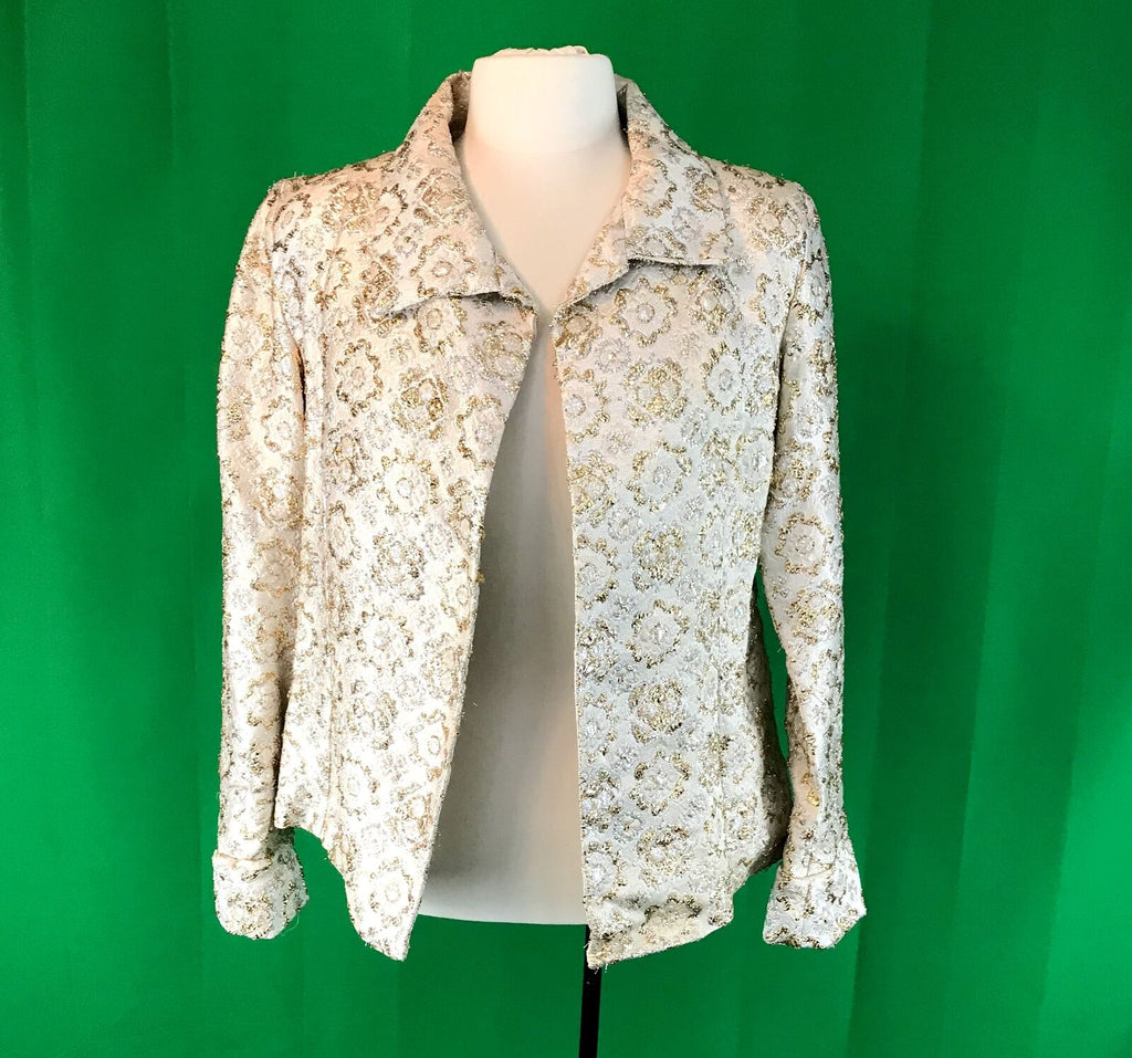 Womens 1960's 1970's Elegant Metallic Gold and Cream Evening Jacket