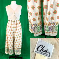Charm of Hollywood 60's Floral Jumpsuit, Empire waist and Palazzo Pants 13/14