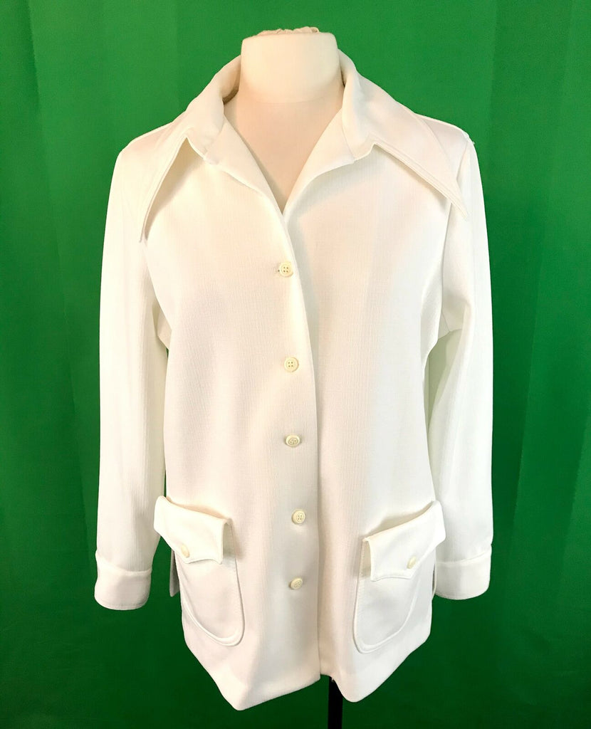 Vintage Womens Pykettes White Double Knit Top Blouse HUGE Collar