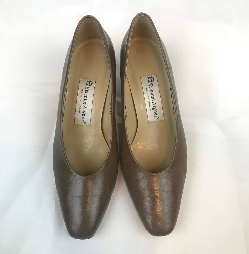 "Aetienne Aigner Beige Leather Pumps, size 6 1/2M, 2""heel"