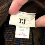 Vintage TJ Thermo Jac Brown Feur di Lis Cardigan Sweater with Tie, Medium