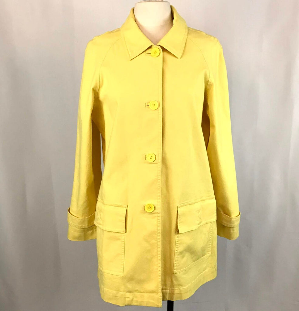 Liz Claiborne Yellow Trench Coat, Large, Lined, Mid Length, button Front