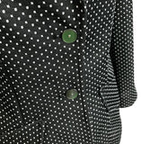 Vintage 60's 70's Swiss Dot Womens Fitted Blazer, Black and White, Small