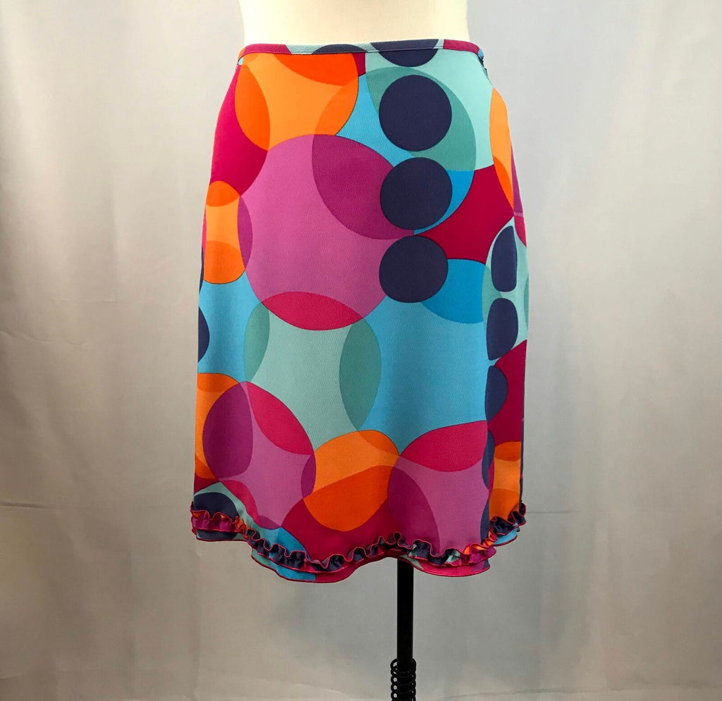 The Limited Vivid Color Geometric Pattern Knee-Length Skirt w/ruffle hem sz 6