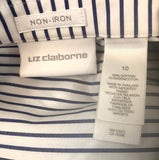 Liz Claiborne White and Blue Horizontal Striped Blouse Top Size 10