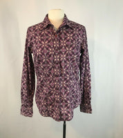 Purple Floral Cruel Girl Blouse, Size Large, Button up Front Pink