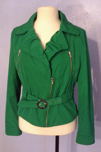 Express Emerald Green Motorcycle Style Jacket, Medium