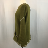 Olive Green Pure Handknit Pullover Sweater with Button Embellishment M/L