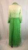 Lime Green and Cream Long Sleeve Random Dot Maxi Dress