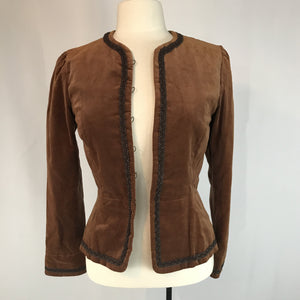 Rust Brown Velvet Peplum Jacket with dark brown braid trim