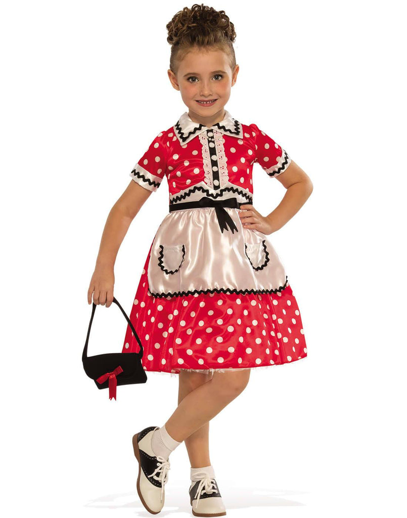 1950's Little Lady Costume, girls Red and White Polka Dots, Grease Happy Days