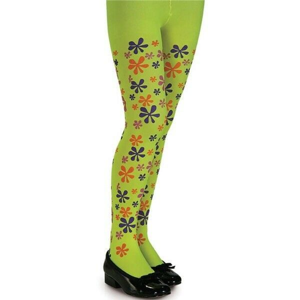 Child Green Flower Power 70's Tights, Small