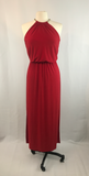 JBS Red Long Maxi Halter Style Formal Dress, Small
