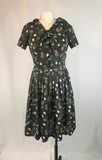 Gray Floral Print Double Knit Dress, 1960's, 1950's