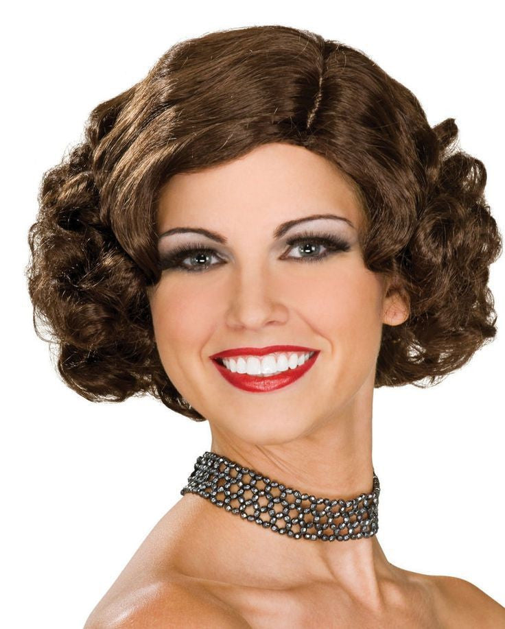 All That Jazz Flapper Wig, Brunette 1920's One Size - Nevermore Costumes