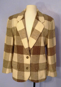 LIz Claiborne Tan and Cream Wool Plaid Blazer, Jacket size 8