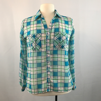 Blue and Green Zenana Styles Sheer Plaid Long Sleeve Blouse, Size Small