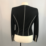 H&M Black with White Piping Womens Suit Blazer, Size 8