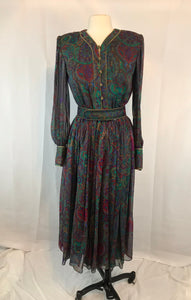Vintage Enrico Gelini Vibrant 100% Silk Dress w/ belt, size 6, Green Purple Gold