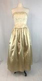 Bari Jay Gold Strapless Long Formal Dress, size 10