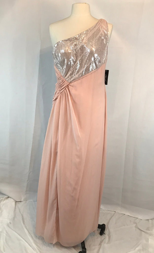 Adrianna Papell Hailey Long One Shoulder Side Gathered Gown Dress. Size 14 NWT