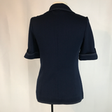 60's 70's Butte Knit Navy Blue Top with white stitching, Jacket