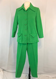 Vintage 60's 70's Bright Green Womens Pant Suit, Leisure Suit