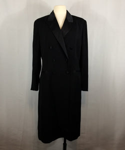 Adrianna Papell Black Double Breasted Tuxedo Dress, Coatdress, Size 14