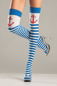 Blue & White Thigh highs Nautical Anchors Navy Cruise Stockings - Nevermore Costumes