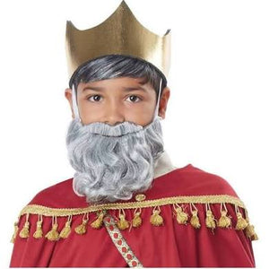 Wise Man Gray Beard and Mustache for Boys - Nevermore Costumes