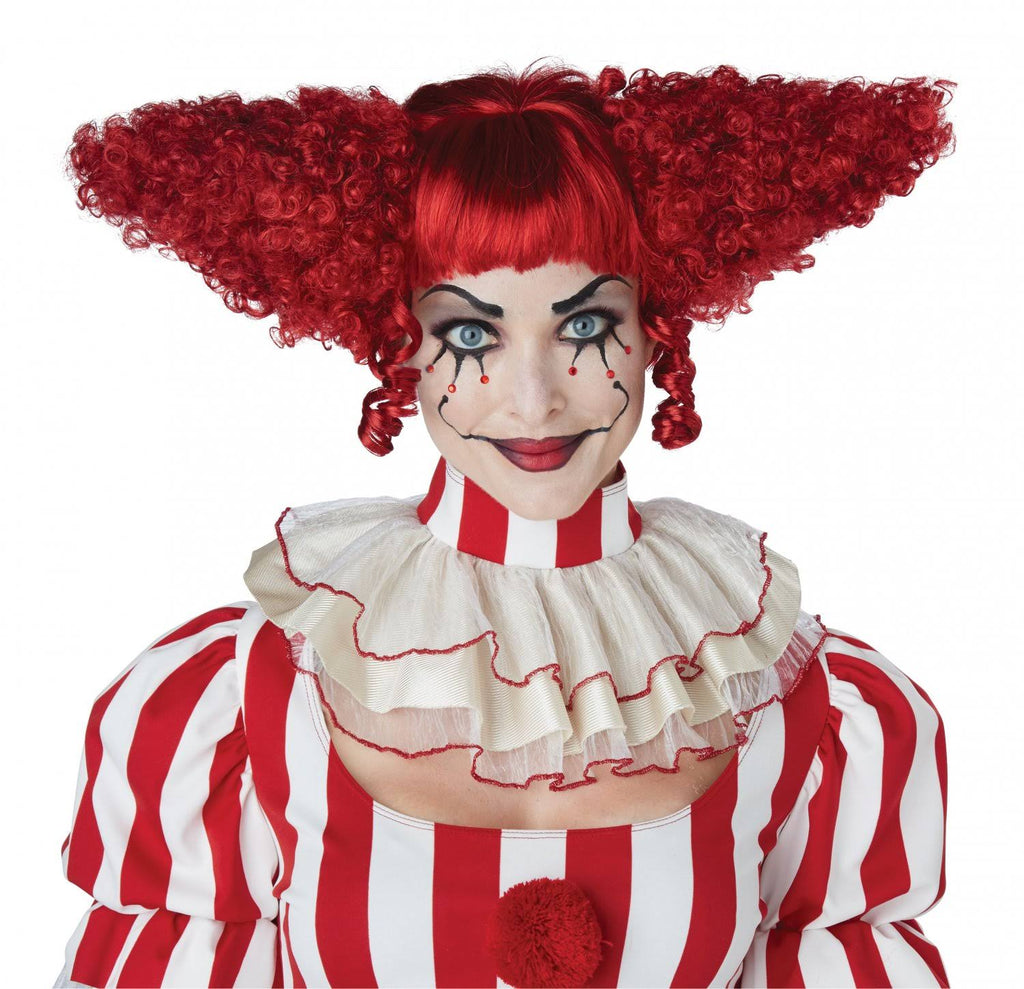 Dark Red Creepy Clown Wig - Nevermore Costumes