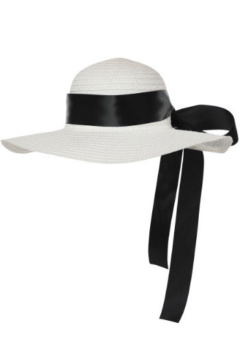 White Straw Hat with Black Ribbon - Nevermore Costumes