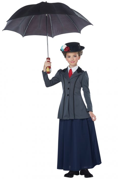 Girls English Nanny Mary Poppins Costume - Nevermore Costumes