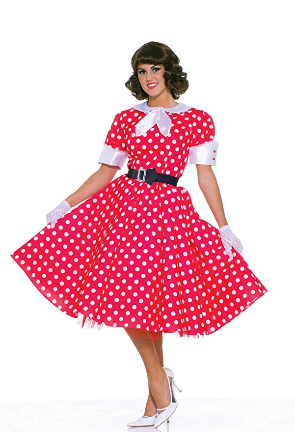 Women's 50's Housewife Costume, Red and White Polka Dot - Nevermore Costumes