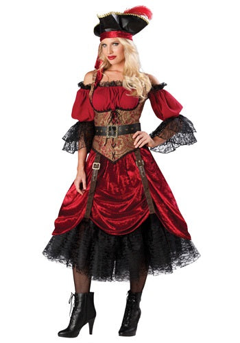 Swashbucklin' Scarlet Costume, Elite Woman's Pirate Buccaneer - Nevermore Costumes