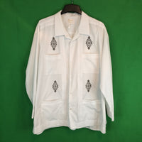 Ravgo Classic White Guayabera Embroidered Shirt, Cuban 48