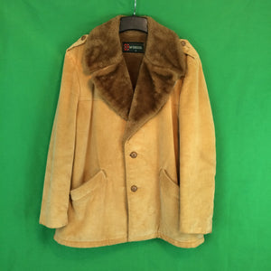 Vintage McGregor Mens Tan Corduroy Ranch Jacket Coat, Faux Fur Collar 42