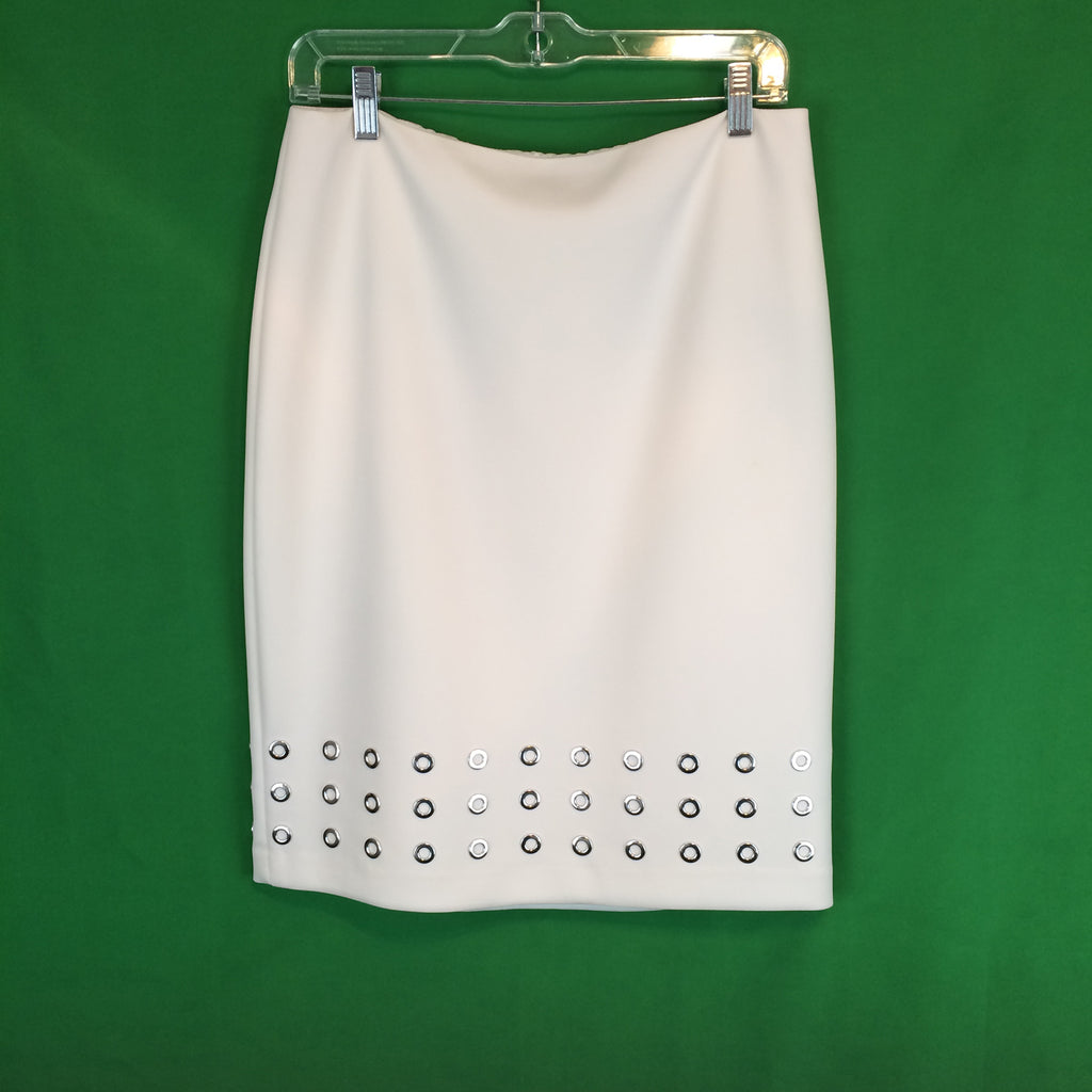 Calvin Klein White midi skirt with Silver Ring applique at hem, size 8