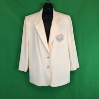 Vintage 80's Peter Nygard Long Cream White Silk Blazer, Jacket size 6 Embroidered Crest