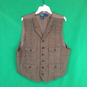 Polo by Ralph Lauren Lambs Wool Brown Tweed Button Front Mens Vest, XL