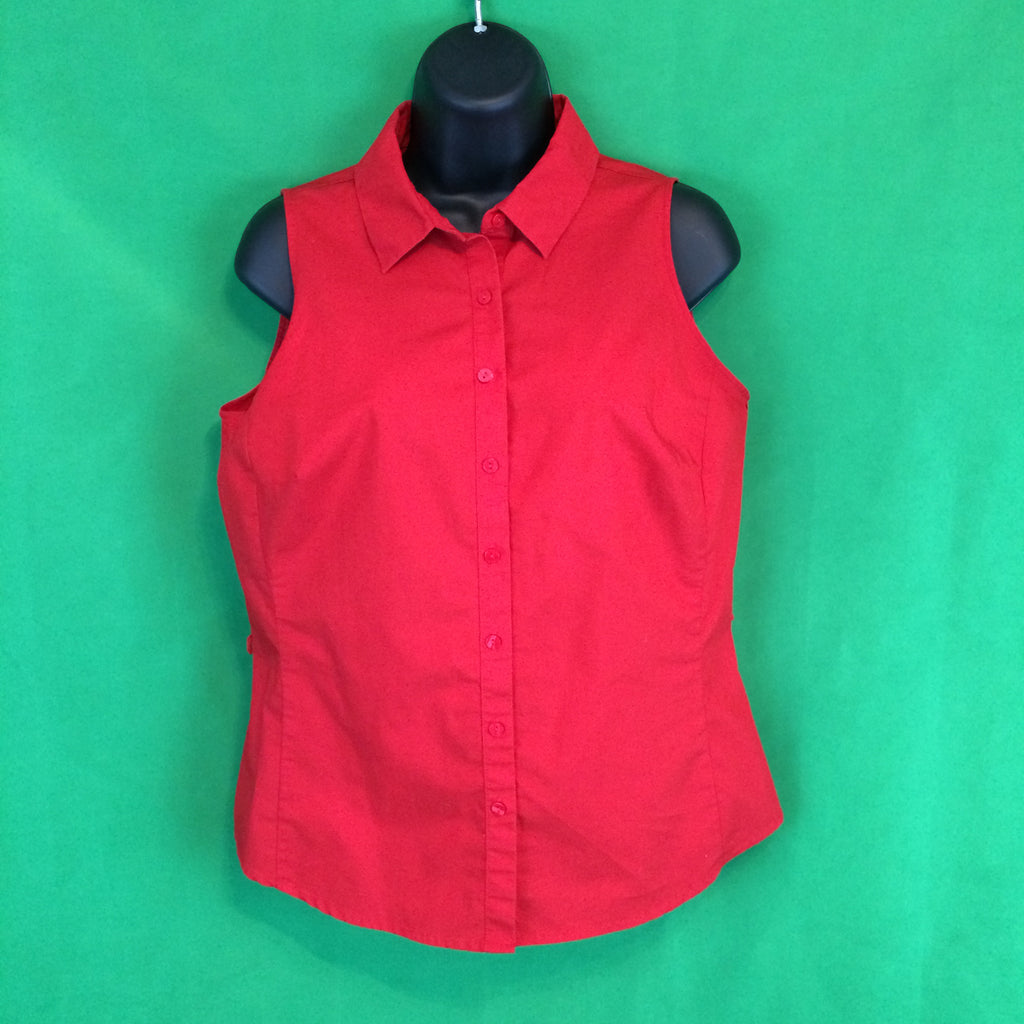 Worthington Red Sleeveless Button Up Top, Blouse Small