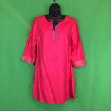 NWT Fabindia Dark Pink Womens India Tunic Top, Silk Blend Embroidered Cuffs, S