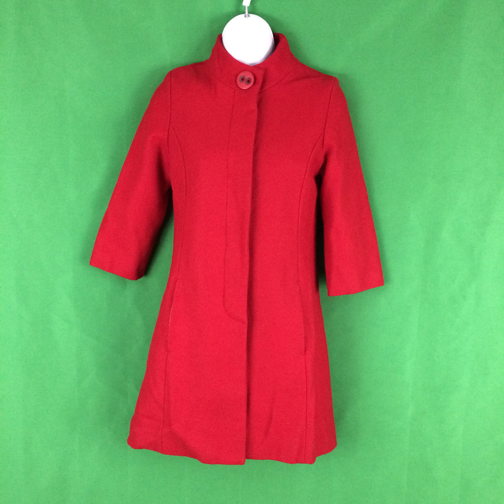 Tulle Red Wool Blend High Collar Swing Coat, Pea Coat Duster XS