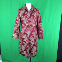 Yansny Burgundy Asian Style Floral Womens Jacket, XL