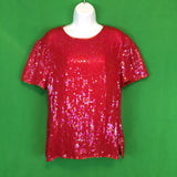 Papell Boutique Evening Red Sequin Silk Blouse Top, XL