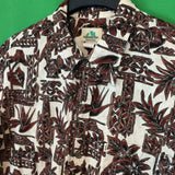 Paradise Bay Mens Hawaiian Shirt, Brown & Cream, Button Front, XL