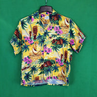 Vintage 50's Aloha National Shirt Shop Yellow Rayon Hawaiian Shirt, Tiki Palm Trees M