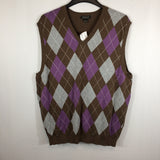 Harold Powell Mens Brown Purple Argyle Sweater Vest, NWT L