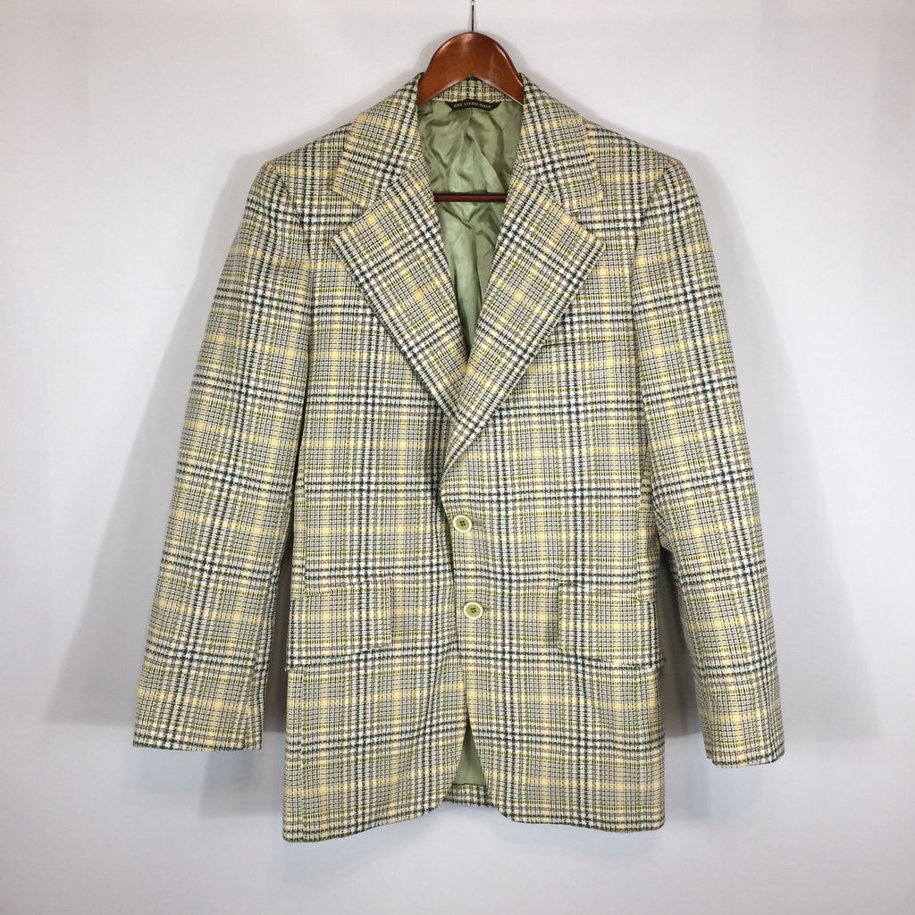 Vintage 60's 70's Curlee Green Plaid Sports Coat Jacket, 38